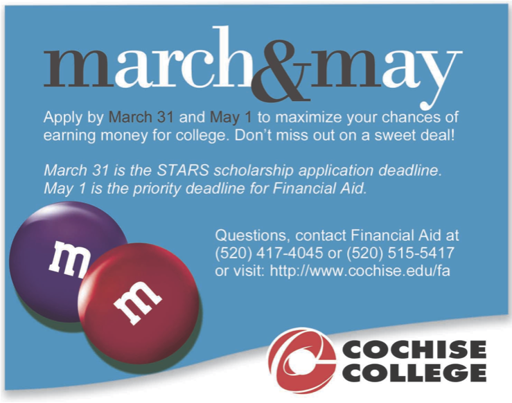 Apply until March 31st STARS scholarship, May 1 Financial aid